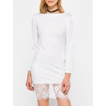 Slash Neck Long Sleeve Lace Spliced Mini Shift Dress