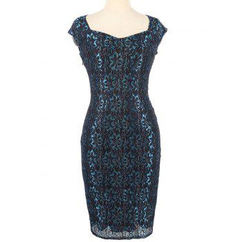 Invisible Zipper Flower Pattern Lace Bodycon Dress