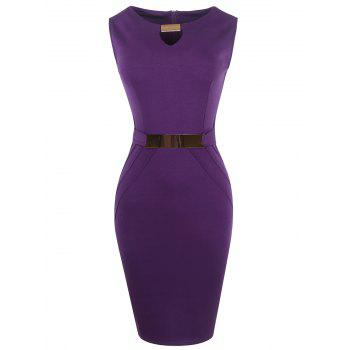 Metal Embellished Ruffled Cut Out Bodycon Party Dress