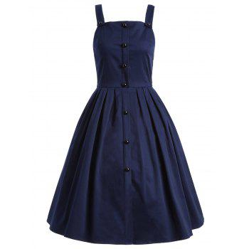 Vintage Sleeveless Buttoned Swing Dress - PURPLISH BLUE PURPLISH BLUE