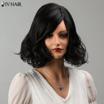 Siv Medium Wavy Shaggy Side Parting Human Hair Wig - JET BLACK