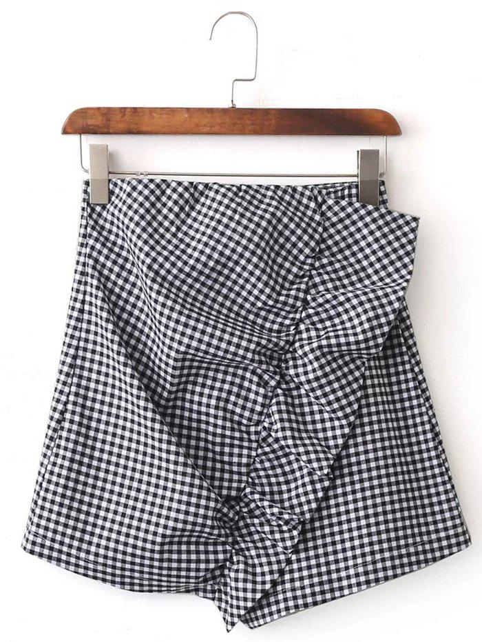 Plaid Asymmetrical Mini Skirt - BLACK L