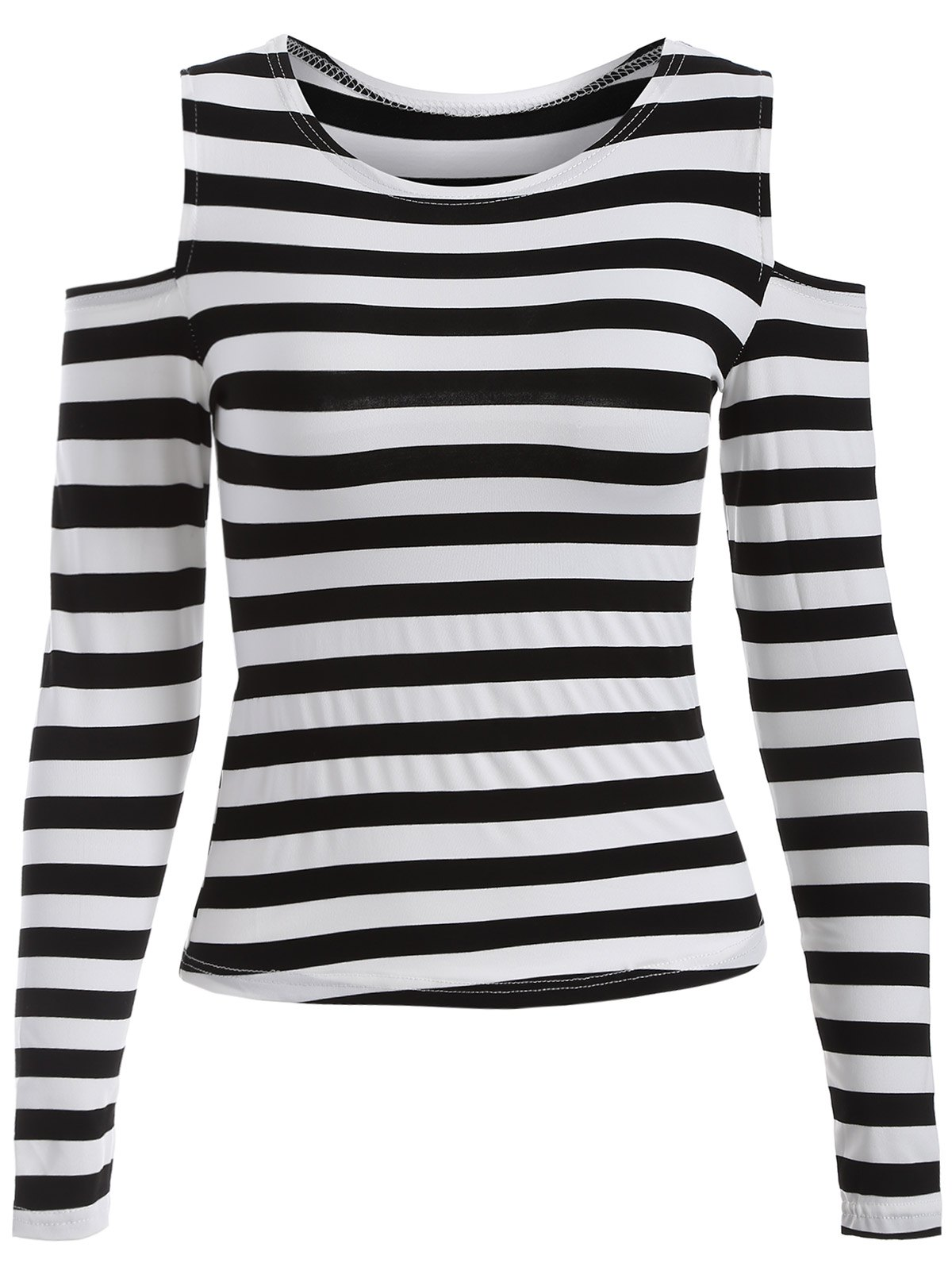 Stripe Cold Shoulder T-Shirt - BLACK XL