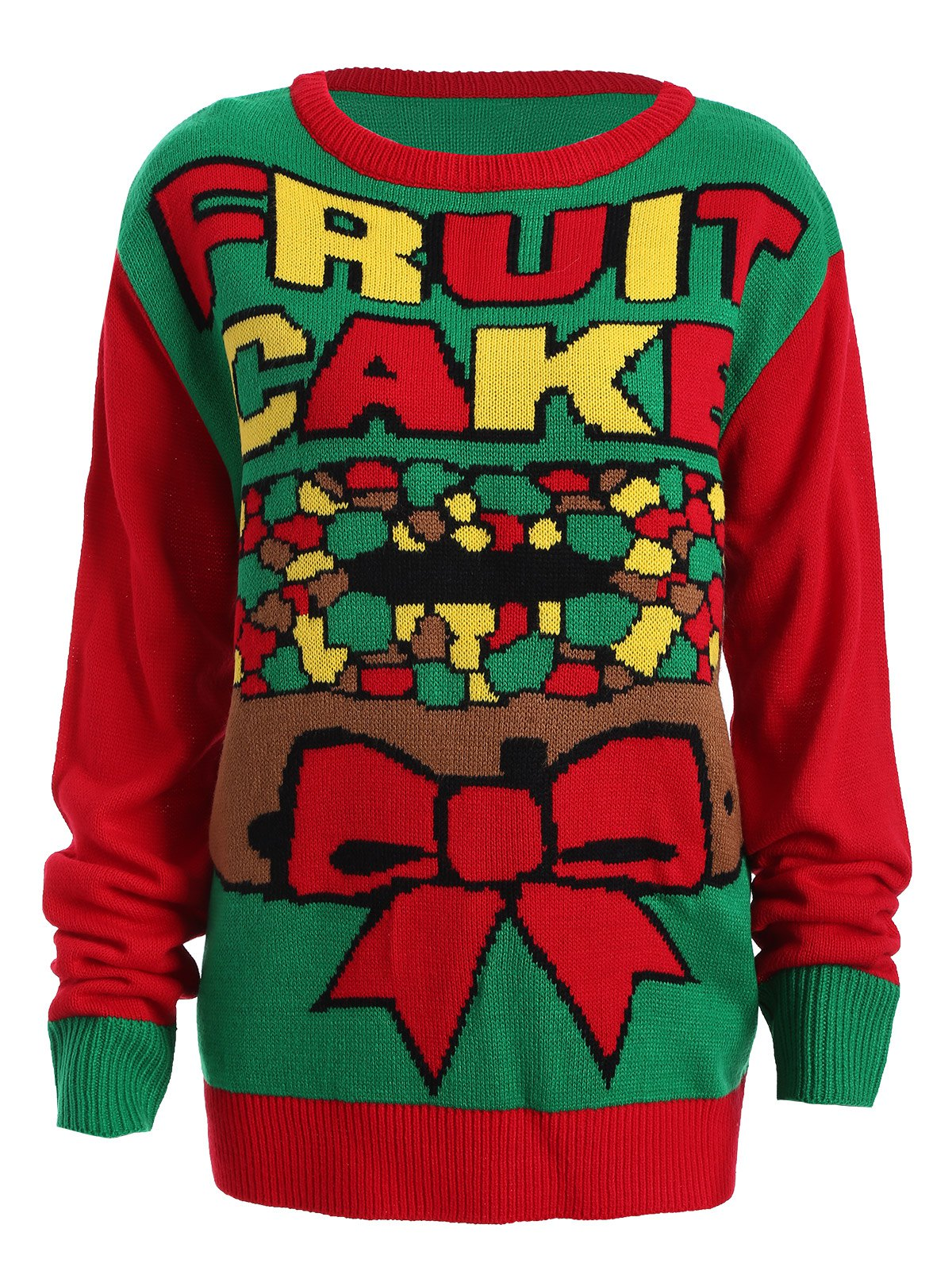 Christmas Fruit Cake Pattern Plus Size Sweater - RED/GREEN 2XL