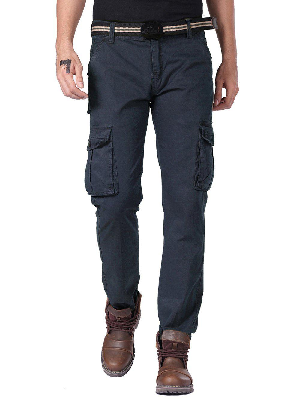 Multi Button Pockets Cargo Pants with Straight LegMen<br><br><br>Size: 34<br>Color: PURPLISH BLUE