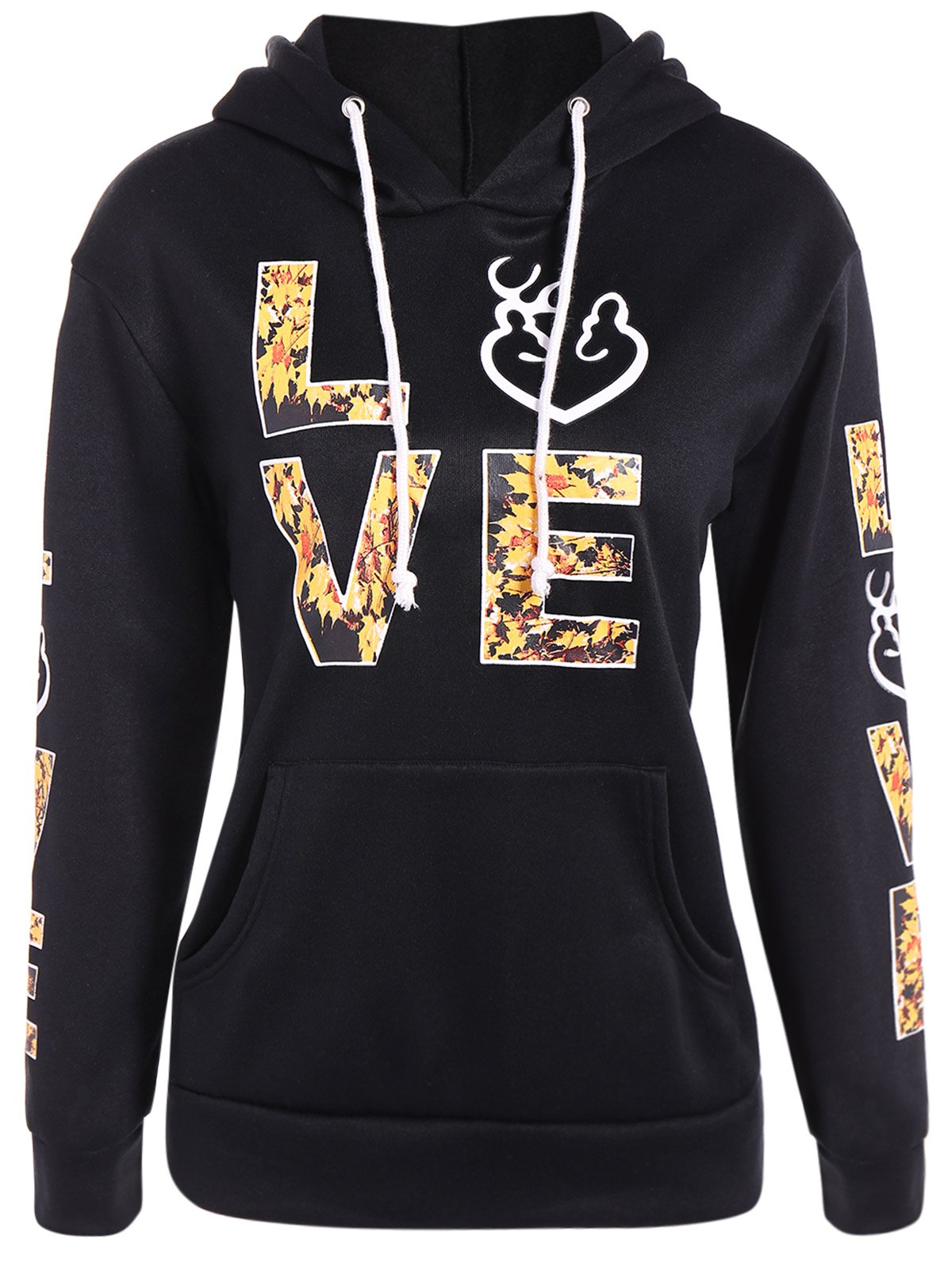 Pullover Letters Pattern Kangaroo Pocket Hoodie sony mhc v77dw