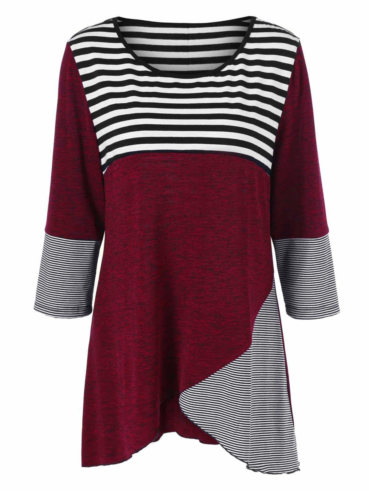 Plus Size Striped Tunic T-Shirt - STRIPE 2XL