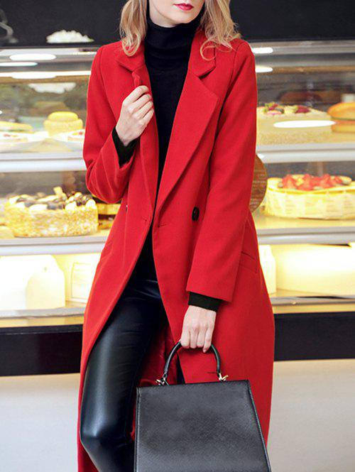 Lapel Long Double Breasted Woolen Coat - RED XL
