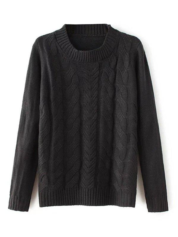 Crew Neck Pullover Sweater - BLACK ONE SIZE