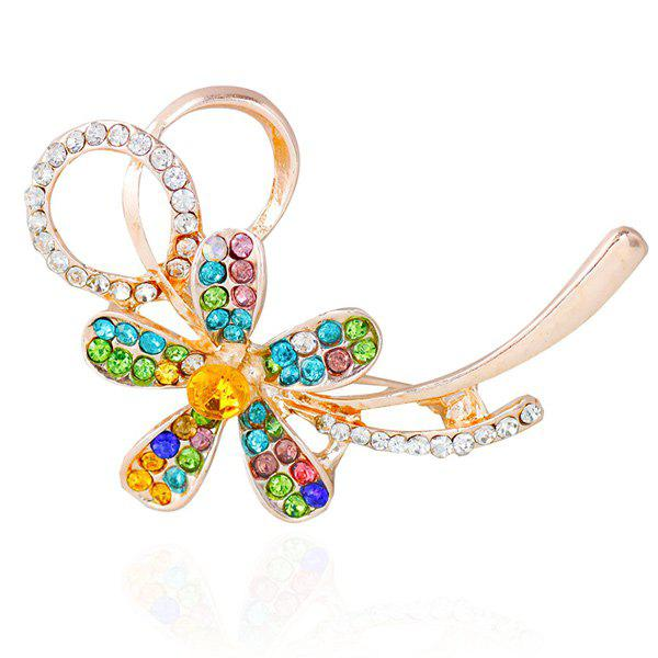 Broche florale de strass - Or