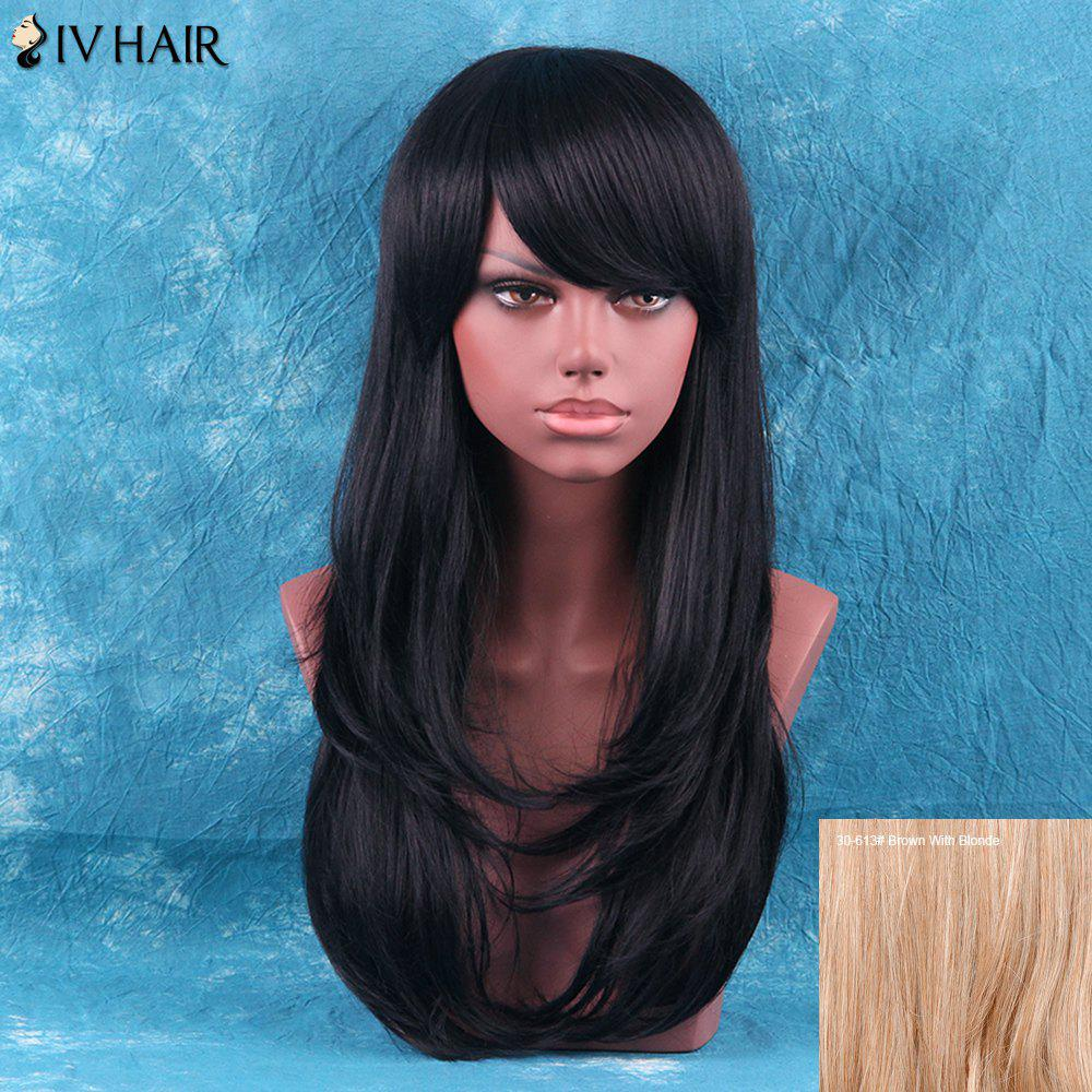Siv Hair Layered Tail Adduction Long Side Bang Human Hair Wig - BROWN/BLONDE