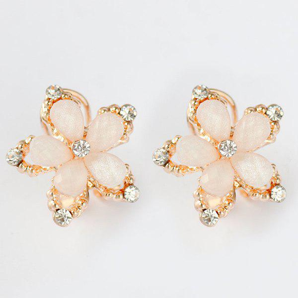 Pair of Rhinestone Floral Stud Earrings - WHITE