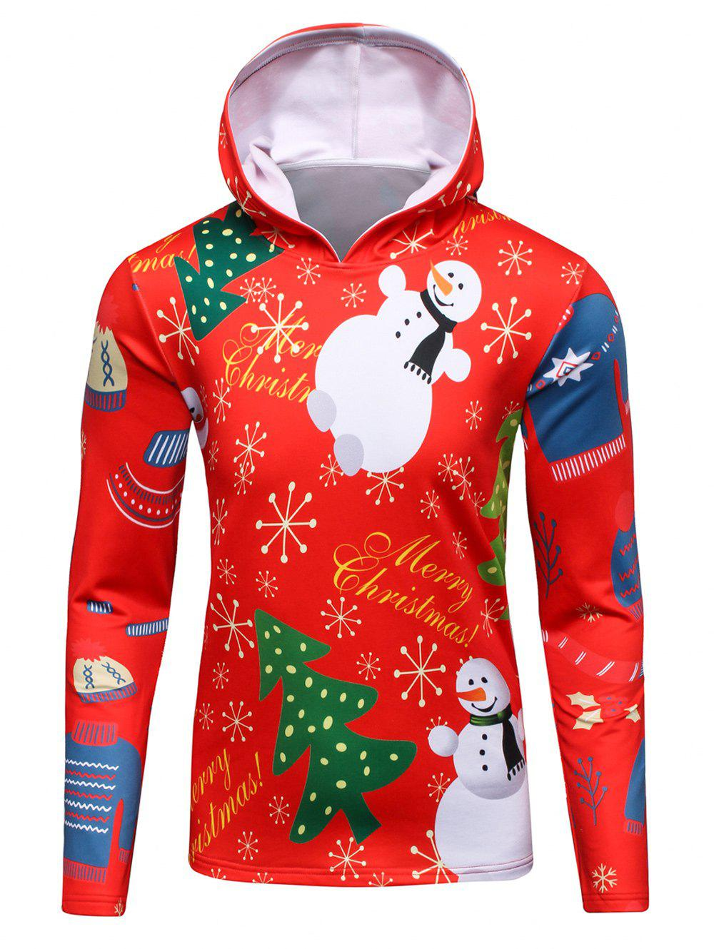 Hooded 3D Christmas Tree and Snowman Print Flocking Hoodie