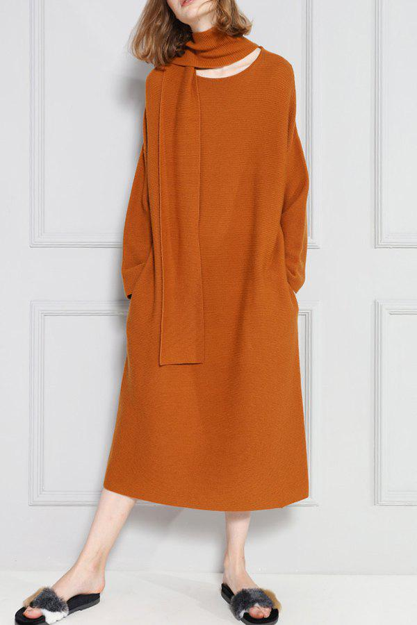 Sweater Dress With Scarf - CAMEL S