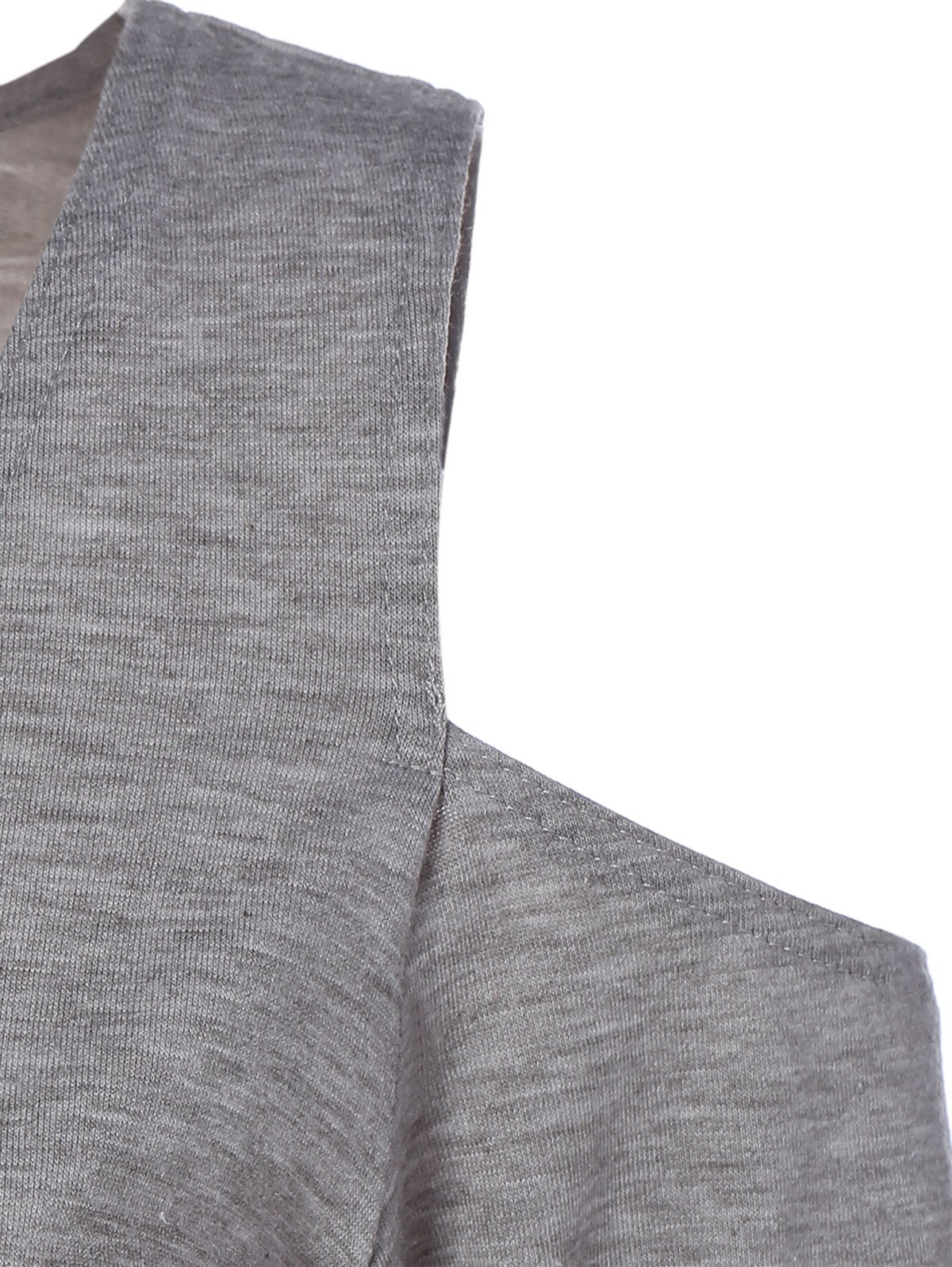 Low Cut Cold Shoulder Tee - LIGHT GRAY 3XL