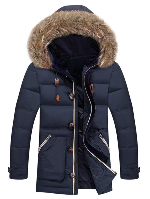 Zipper Up Pocket Quilted Coat with Fur Trim Hood