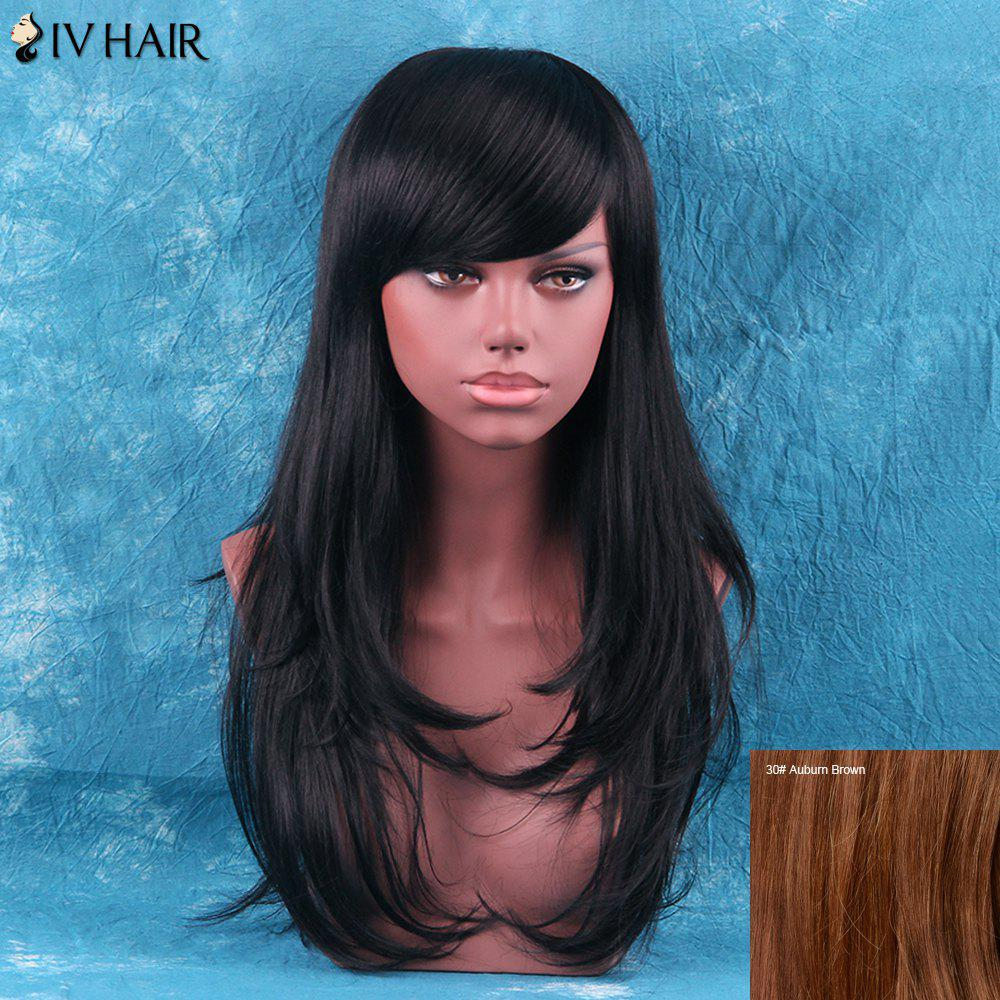 Siv Hair Fluffy Layered Tail Adduction Long Side Bang Human Hair Wig - AUBURN BROWN