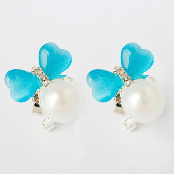 Pair of Faux Pearl Heart Stud Earrings faux pearl round stud earrings
