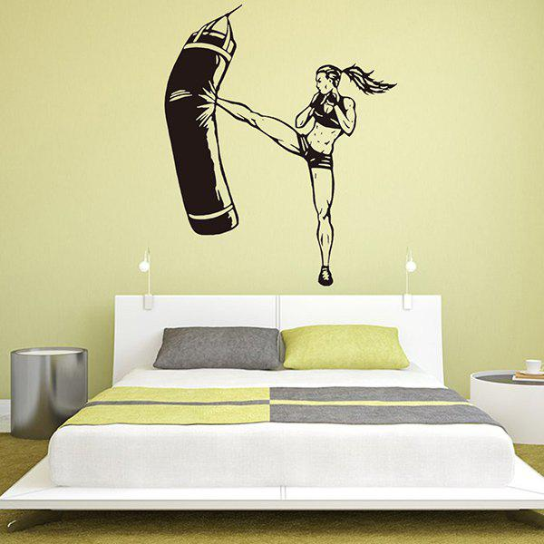2018 Female Boxing Player Removable Home Decor Wall Stickers BLACK ...