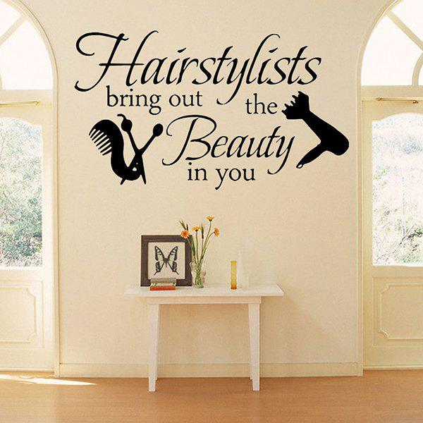 Dresslily USA Hairstyle Proverb Removable Barbershop Decor Wall Stickers