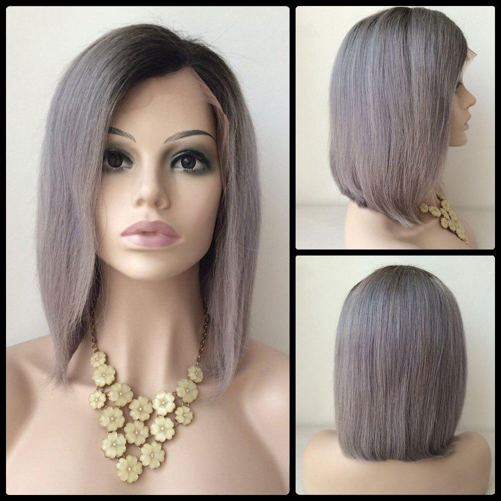 Bob Hairstyle Side Parting Short Human Hair Lace Front Wig brazilian virgin lace front human remy bob wigs for black women short glueless full lace bob wigs with baby hair free shipping