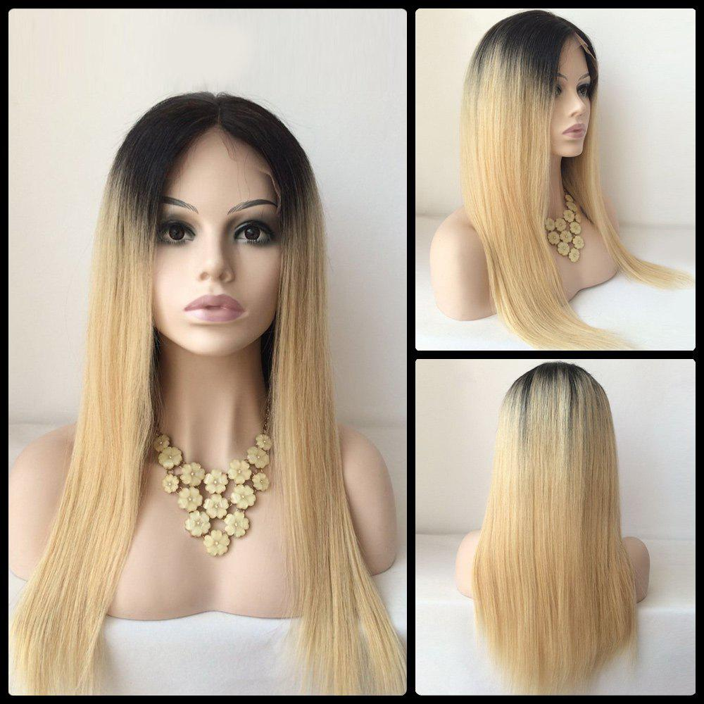 Long Middle Part Straight Human Hair Lace Front Wig - COLORMIX