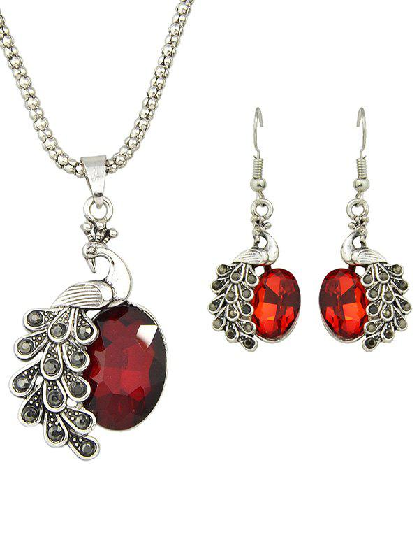 Artificial Gem Peacock Necklace and EarringsJewelry<br><br><br>Color: RED