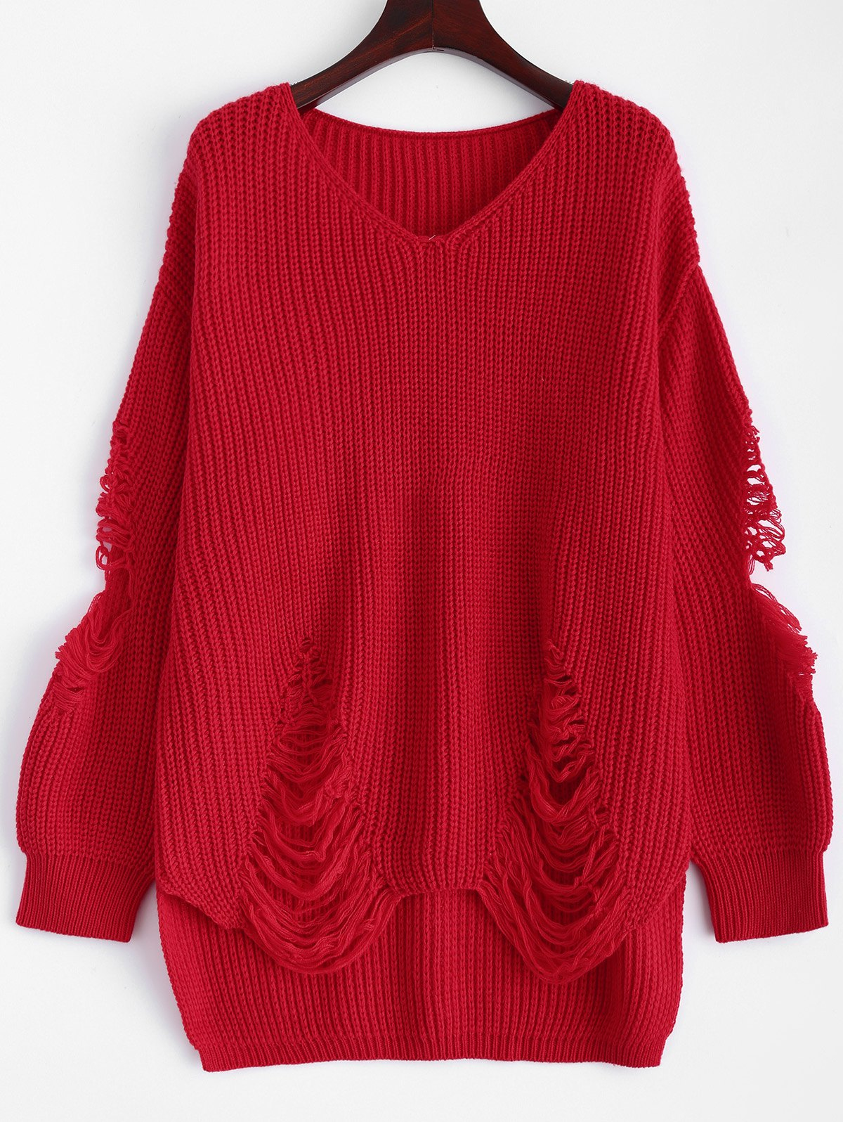 Pullover Ripped V Neck Sweater - RED M