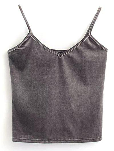 Velvet Cami Cropped Tank Top - GRAY ONE SIZE