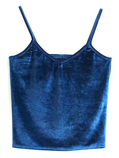 Velvet Cami Cropped Tank Top - PEACOCK BLUE ONE SIZE