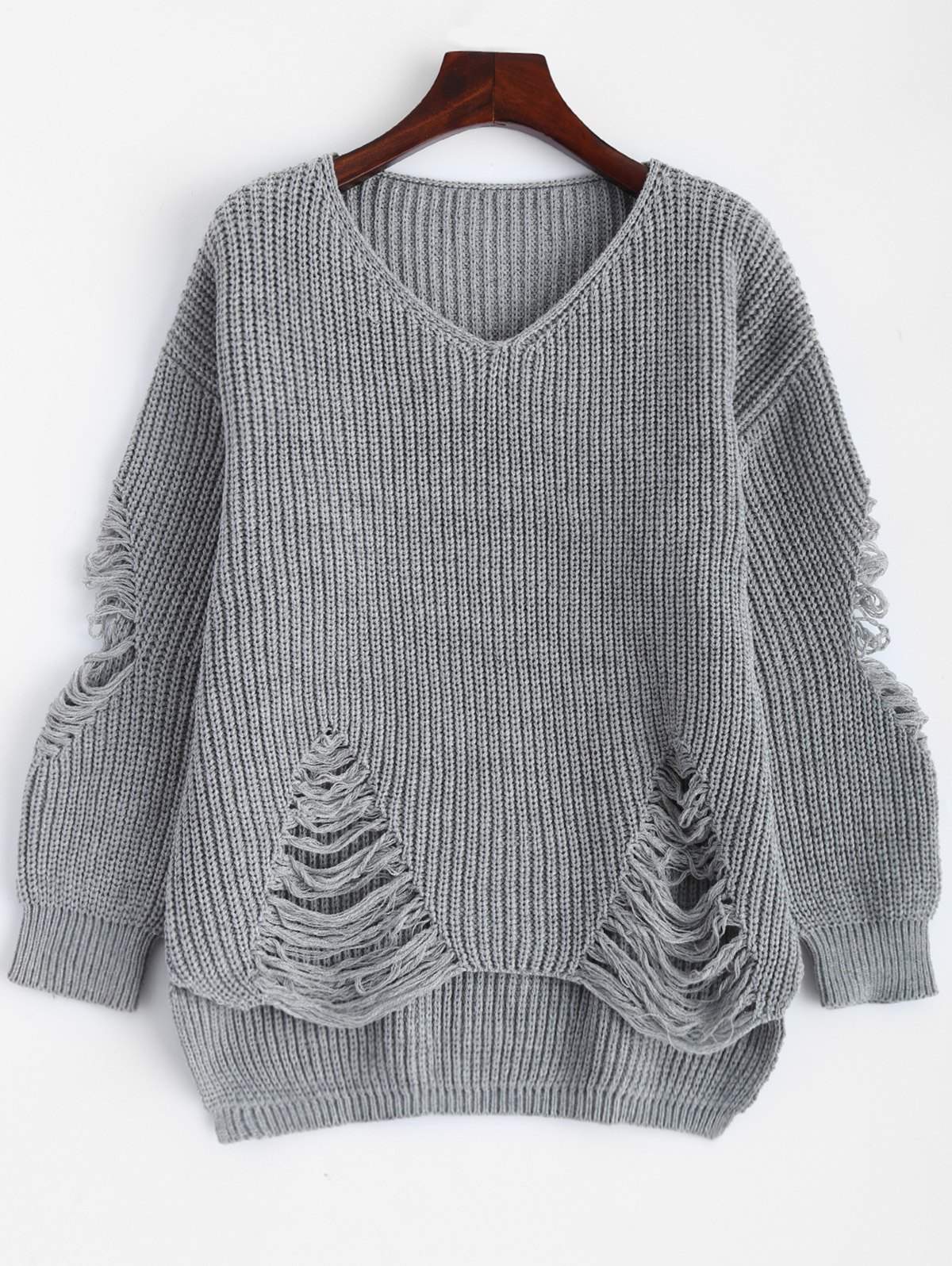 Pullover Ripped V Neck Sweater - DEEP GRAY M