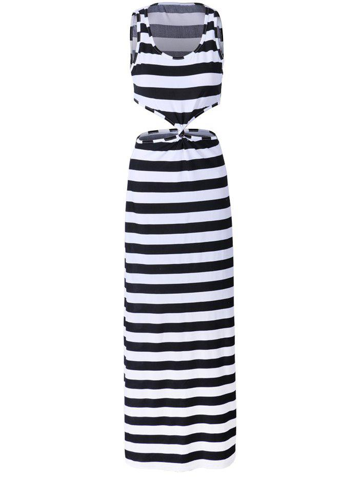 Petite Stripe Twist Front Cut Out Long Maxi Dress - BLACK STRIPE S