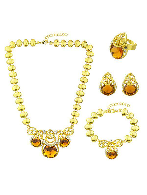Artificial Gem Necklace Earrings Bracelet and Ring artificial sapphire necklace ring and earrings