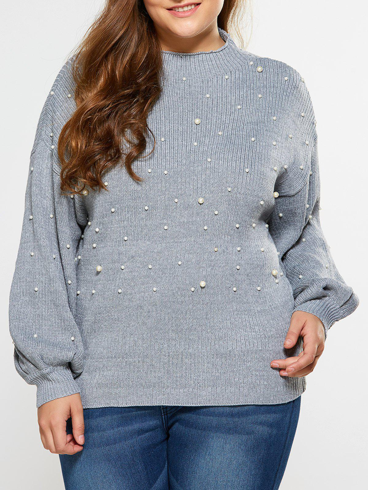 Loose Faux Pearl Embellished Sweater - LIGHT GRAY XL