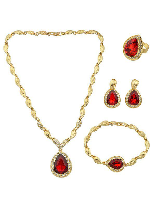 Artificial Ruby Necklace Earrings Bracelet and Ring artificial sapphire necklace ring and earrings