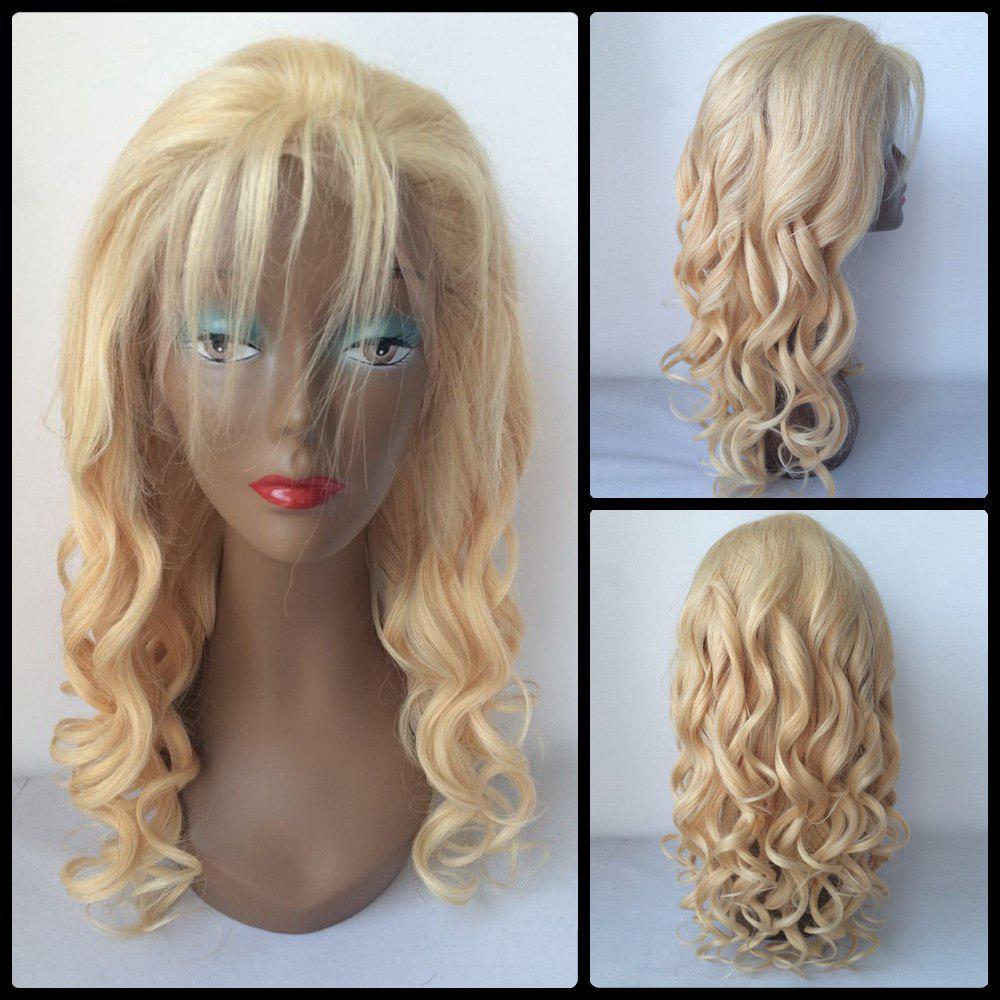 Image of 100 Percent Human Hair Fluffy Long Curly Lace Front Wig