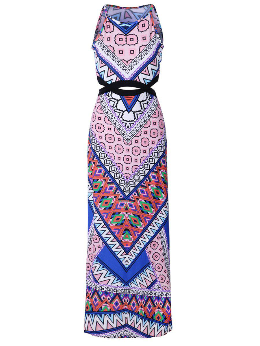 Long Slit Bohemian Print Maxi Dress - PINK XL