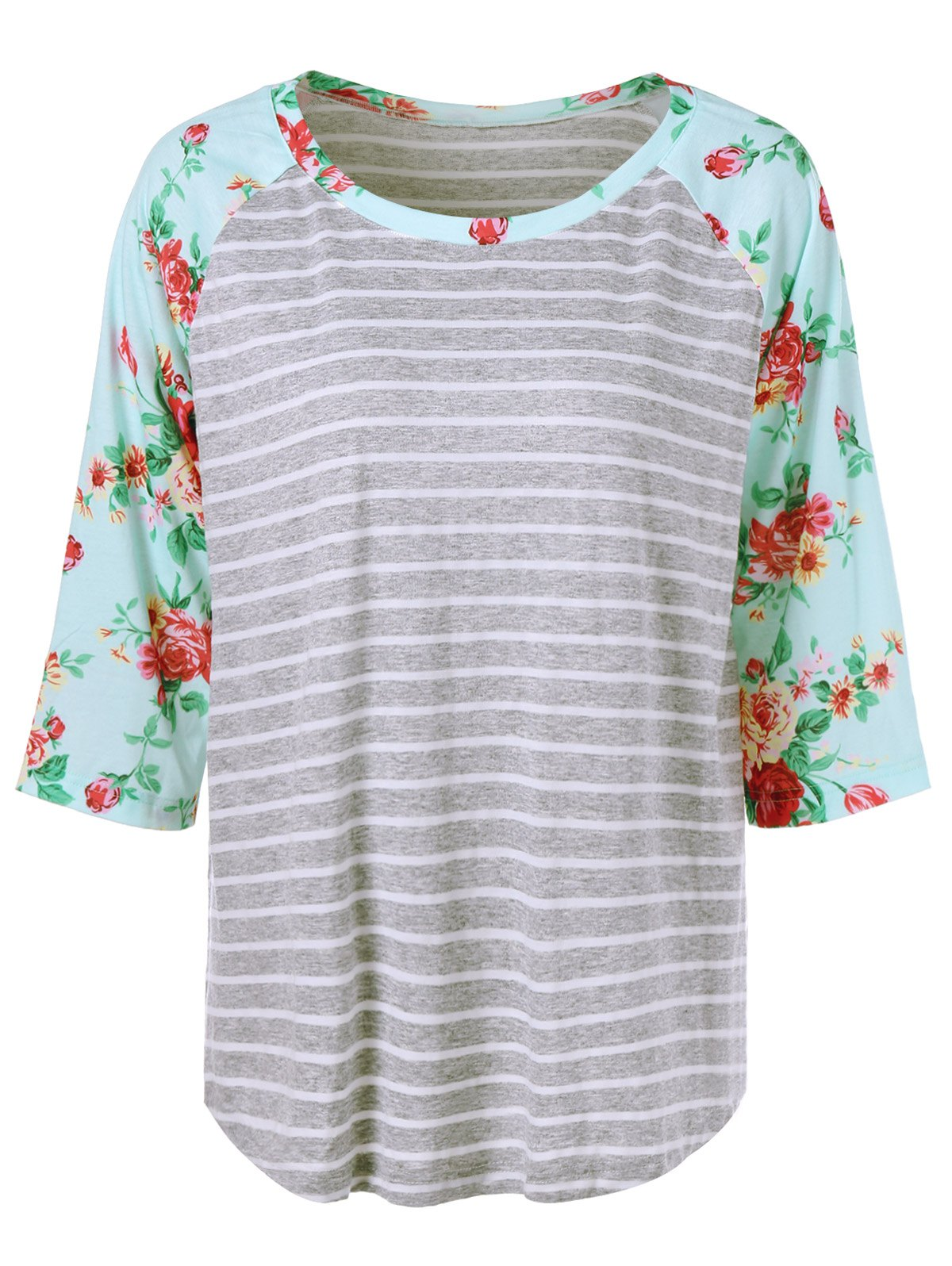 Plus Size Floral and Striped Tee - STRIPE 4XL