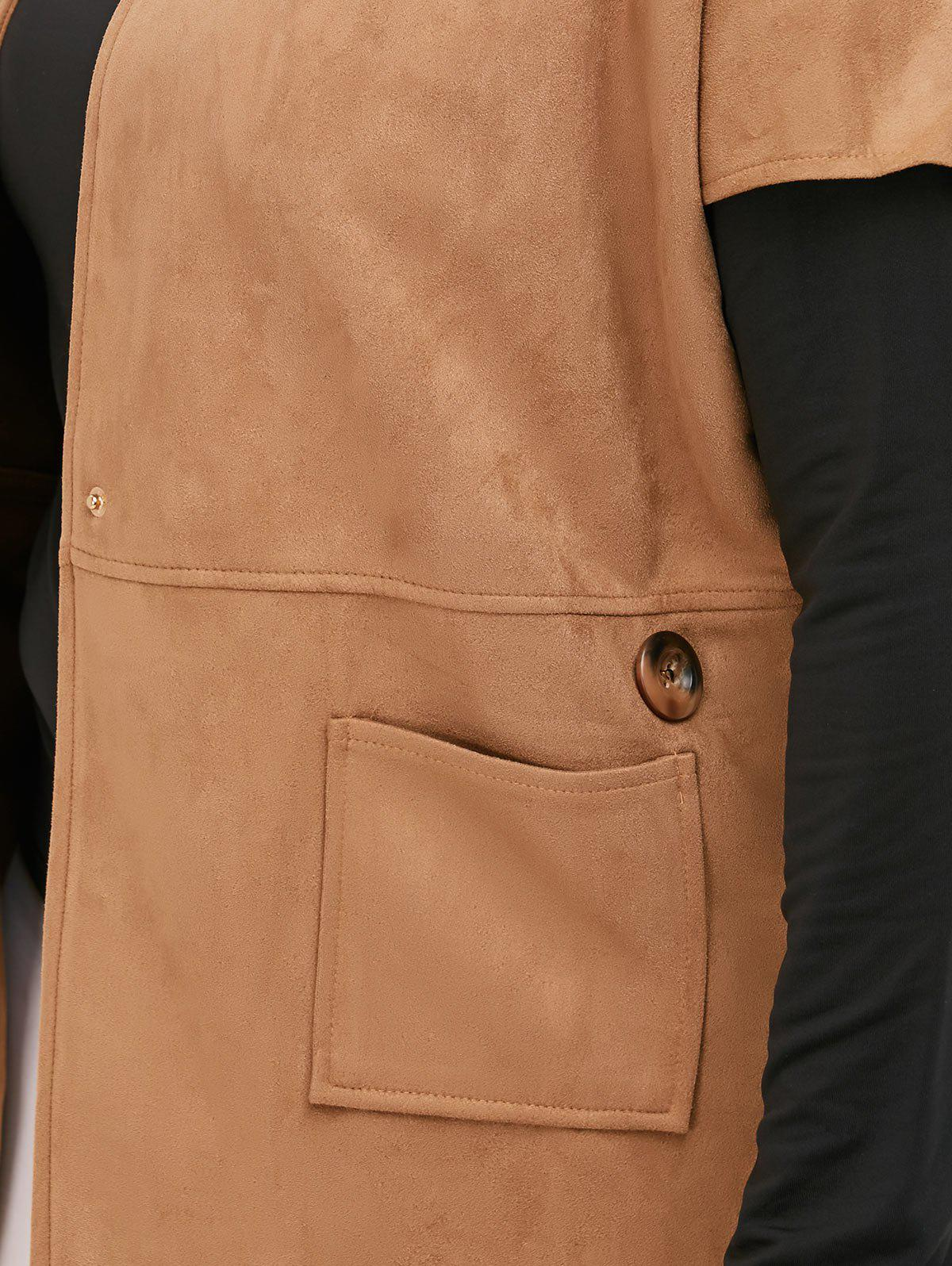 Suede Short Sleeves Jacket with Mock Neck Tee - CAMEL 2XL