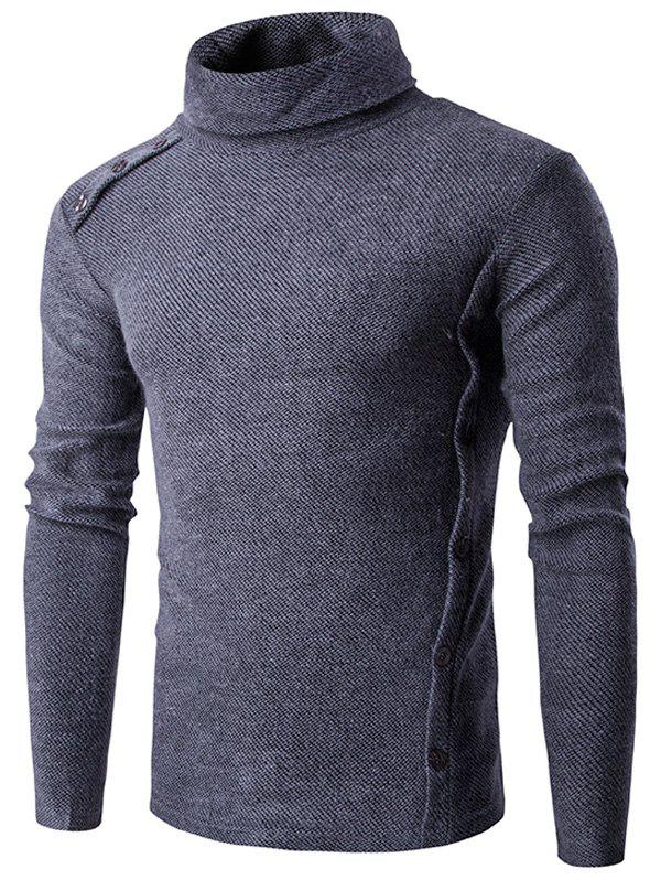 Asymmetric Embellished Button Turtleneck Sweater - GRAY XL