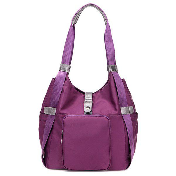 Pocket Nylon Shoulder Bag - PURPLE