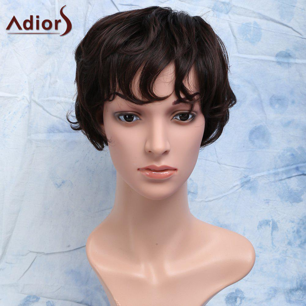 Heat Resistant Synthetic Towheaded Curly Short Fashion Brown Side Bang Capless Men's Wig high quality european american short curly wig for children heat resistant synthetic fashion girls golden wigs