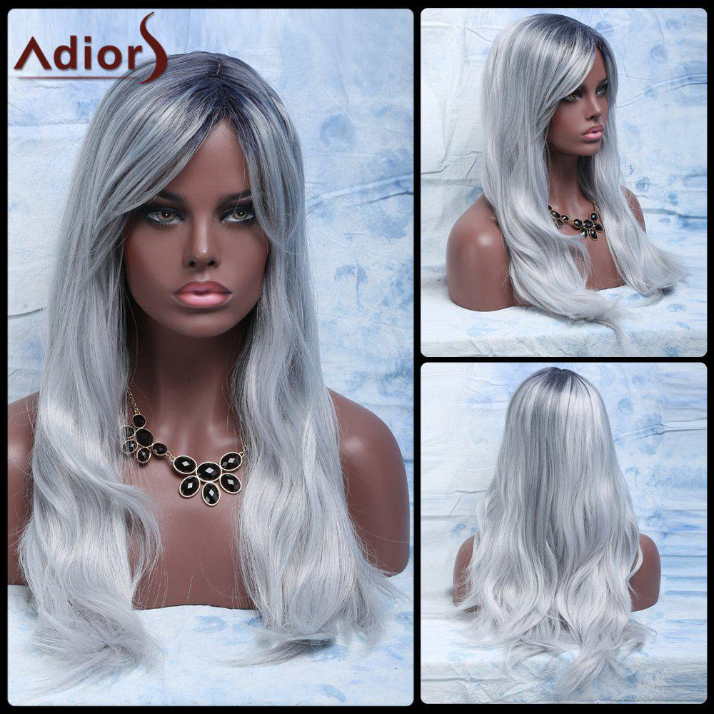 Fluffy Natural Wave Attractive Long Gray Mixed Synthetic Adiors Wig For Women - COLORMIX