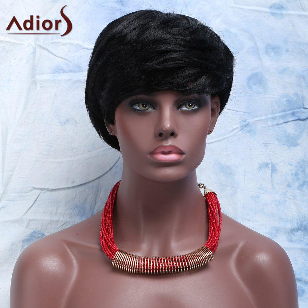 Virile Short Full Bang Capless Human Hair Wig For Women - JET BLACK