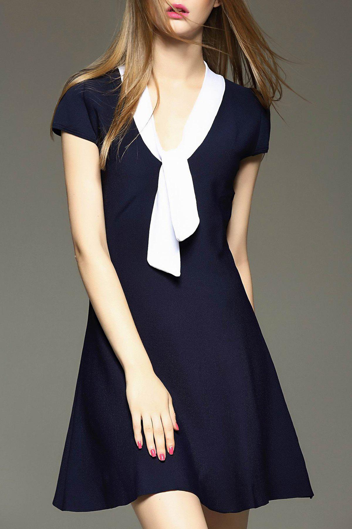 Bow Collar Mini Flare Dress - PURPLISH BLUE M