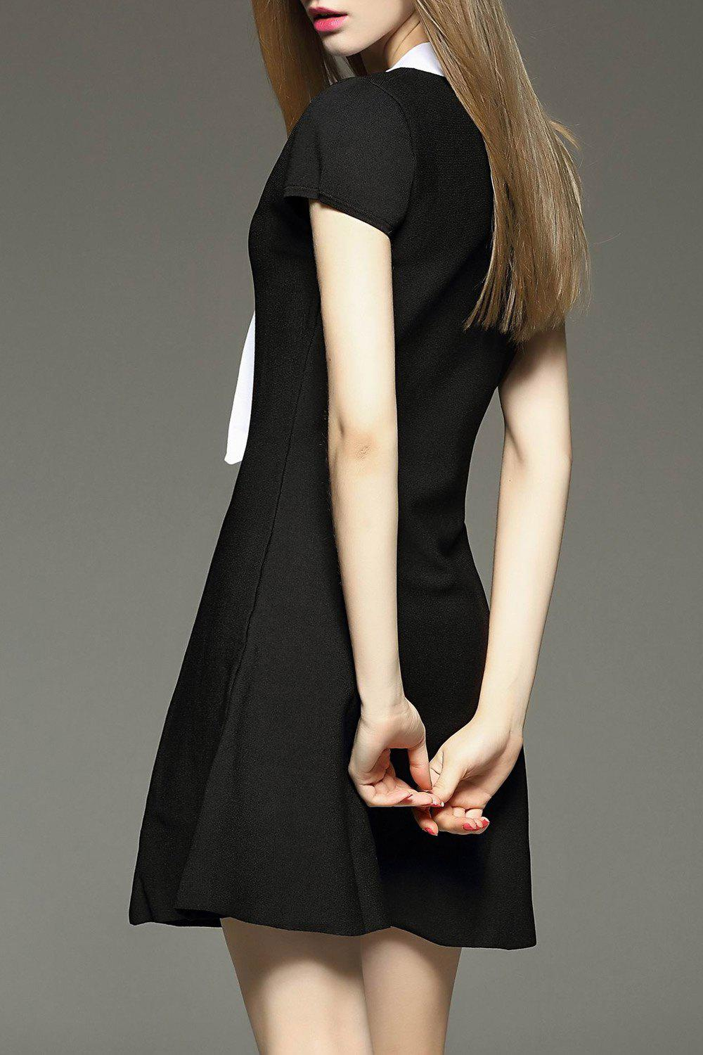 Bow Collar Mini Flare Dress - BLACK M