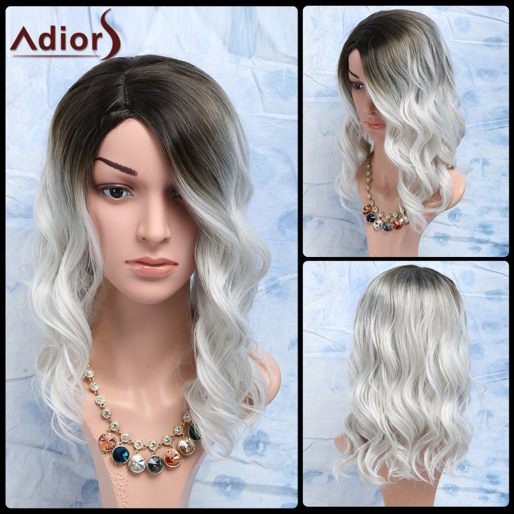 Women's Fashion Black Mixed White Side Parting Medium Wavy Synthetic Hair Wig - WHITE/BLACK