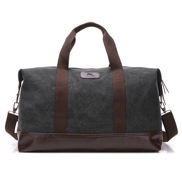 Canvas PU Leather Panel Weekend Bag - BLACK