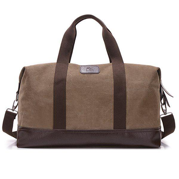 Canvas PU Leather Panel Weekend Bag - BROWN