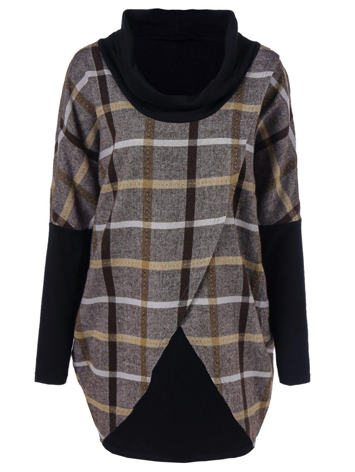 Cowl Neck Overlap TeeWomen<br><br><br>Size: XL<br>Color: CHECKED